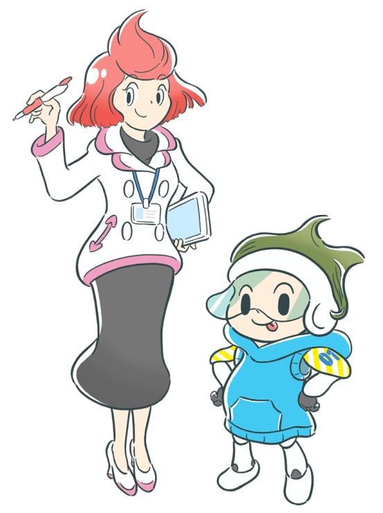 Deep Insiderイメージキャラクター: 深井藍(ふかい あい) 博士(左)、マナブ(01号)(右)